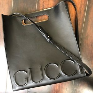 GUCCI Calfskin Medium Linea XL Tote Black